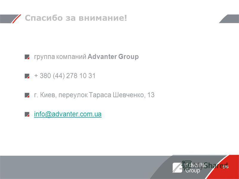 56 Спасибо за внимание! группа компаний Advanter Group + 380 (44) 278 10 31 г. Киев, переулок Тараса Шевченко, 13 info@advanter.com.ua