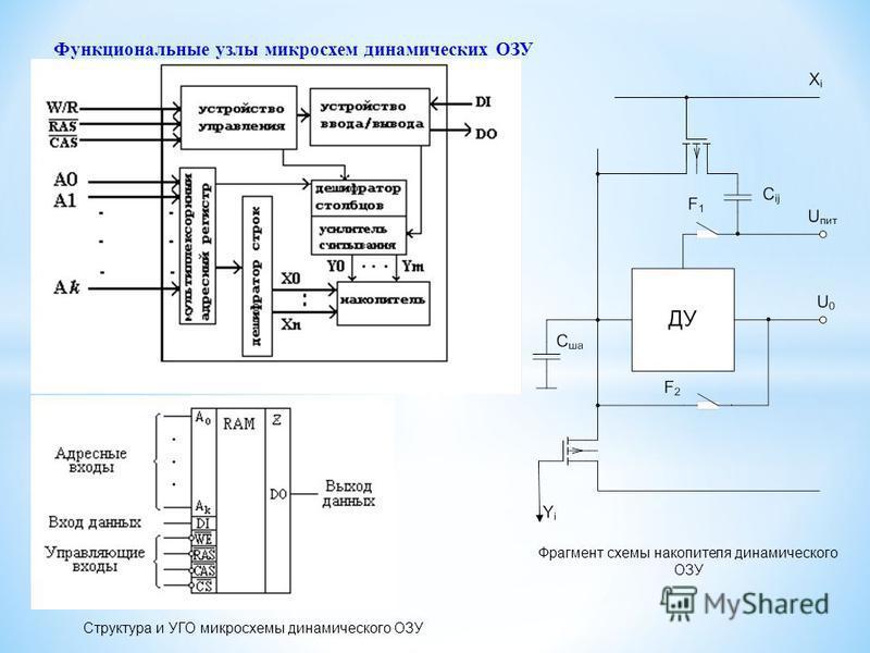 Функциональные узлы микросхем динамических ОЗУ Структура и УГО микросхемы динамического ОЗУ Фрагмент схемы накопителя динамического ОЗУ