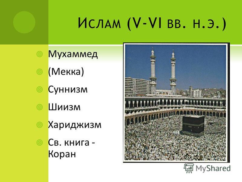 И СЛАМ (V-VI ВВ. Н. Э.) Мухаммед (Мекка) Суннизм Шиизм Хариджизм Св. книга - Коран