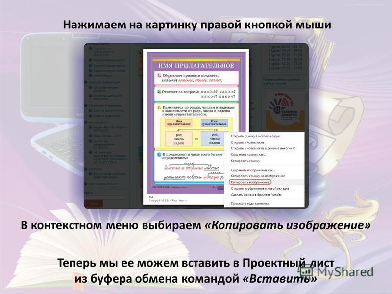 Нажимаем на картинку правой кнопкой мыши В контекстном меню выбираем «Копировать изображение» Теперь мы ее можем вставить в Проектный лист из буфера обмена командой «Вставить»