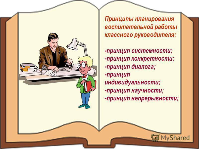 Принципы планирования воспитательной работы классного руководителя: -принцип системности; -принцип конкретности; -принцип диалога; -принцип индивидуальности; -принцип научности; -принцип непрерывности;