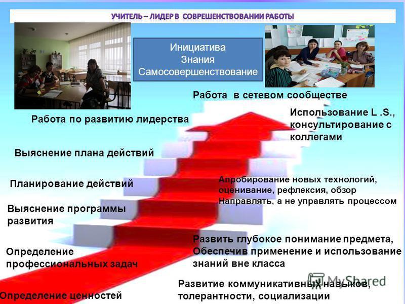 Определение ценностей Определение профессиональных задач Выяснение программы развития Планирование действий Выяснение плана действий Работа по развитию лидерства Работа в сетевом сообществе Развить глубокое понимание предмета, Обеспечив применение и