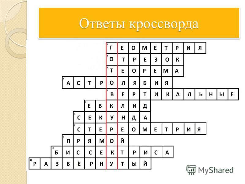 Кросворд по геометриц 7 класс ответами