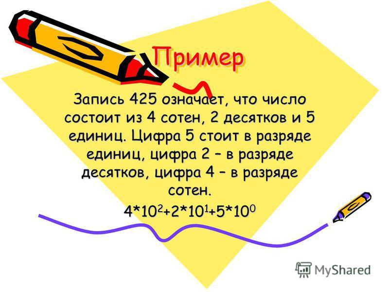 Пример Пример Запись 425 означает, что число состоит из 4 сотен, 2 десятков и 5 единиц. Цифра 5 стоит в разряде единиц, цифра 2 – в разряде десятков, цифра 4 – в разряде сотен. 4*10 2 +2*10 1 +5*10 0