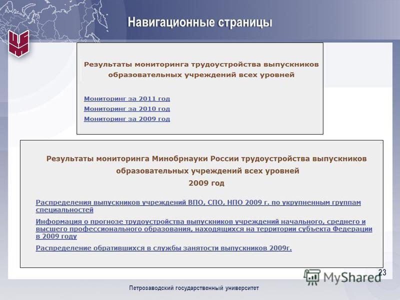 23 Петрозаводский государственный университет Навигационные страницы