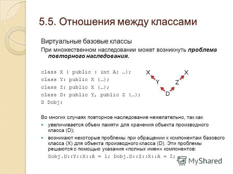 5.5. Отношения между классами Виртуальные базовые классы При множественном наследовании может возникнуть проблема повторного наследования. class X { public : int A; …}; class Y: public X {…}; class Z: public X {…}; class D: public Y, public Z {…}; D