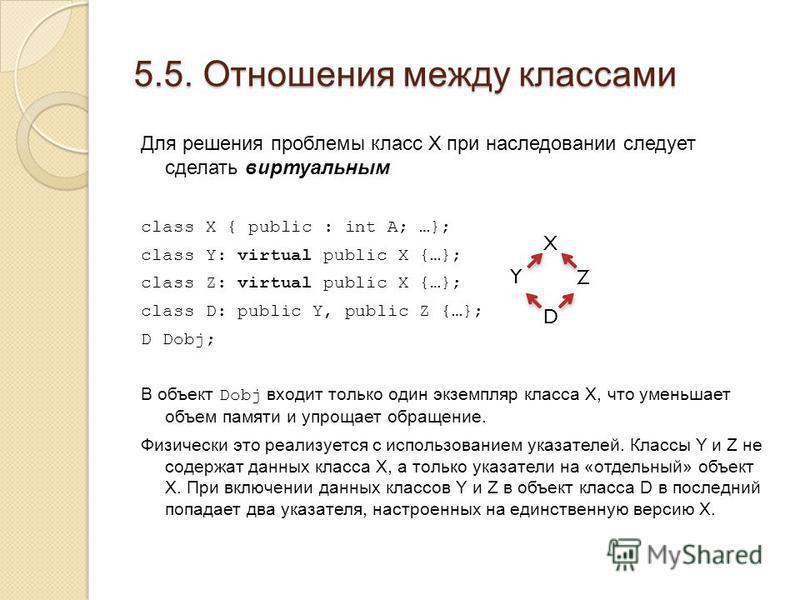 5.5. Отношения между классами Для решения проблемы класс X при наследовании следует сделать виртуальным class X { public : int A; …}; class Y: virtual public X {…}; class Z: virtual public X {…}; class D: public Y, public Z {…}; D Dobj; В объект Dobj