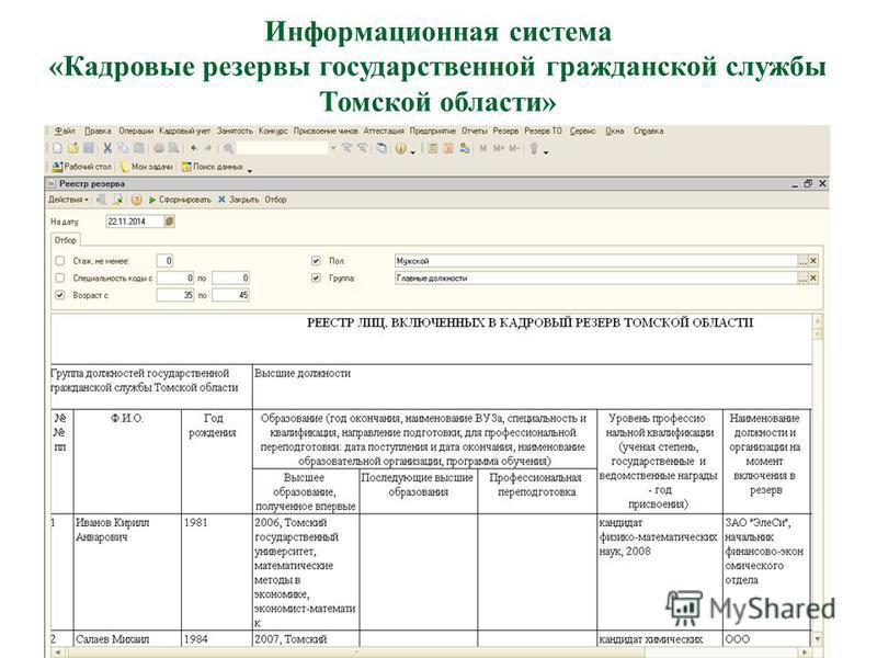 Информационная система «Кадровые резервы государственной гражданской службы Томской области»