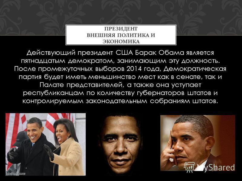 Действующий президент США Барак Обама является пятнадцатым демократом, занимающим эту должность. После промежуточных выборов 2014 года, Демократическая партия будет иметь меньшинство мест как в сенате, так и Палате представителей, а также она уступае