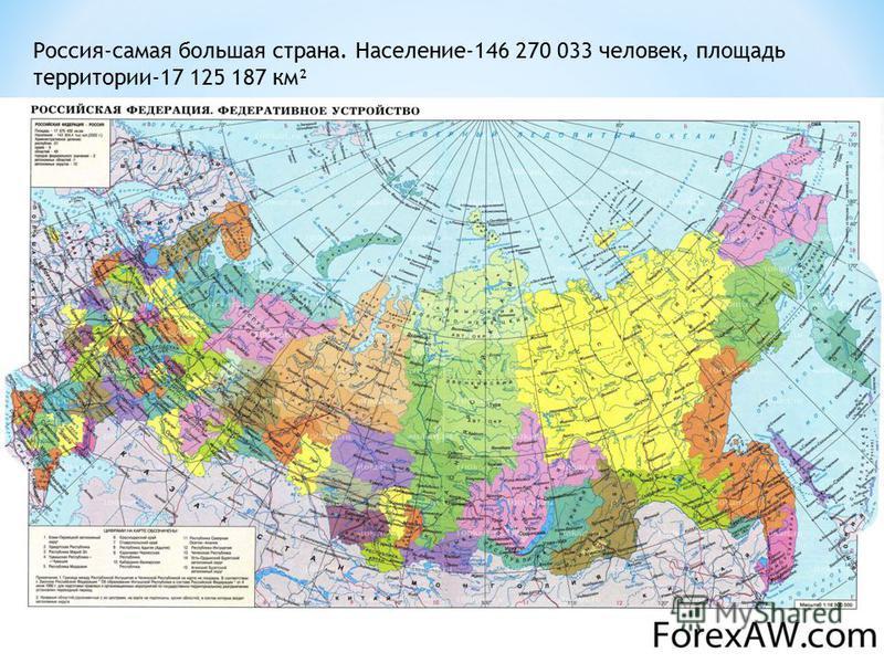 Россия-самая большая страна. Население-146 270 033 человек, площадь территории-17 125 187 км²