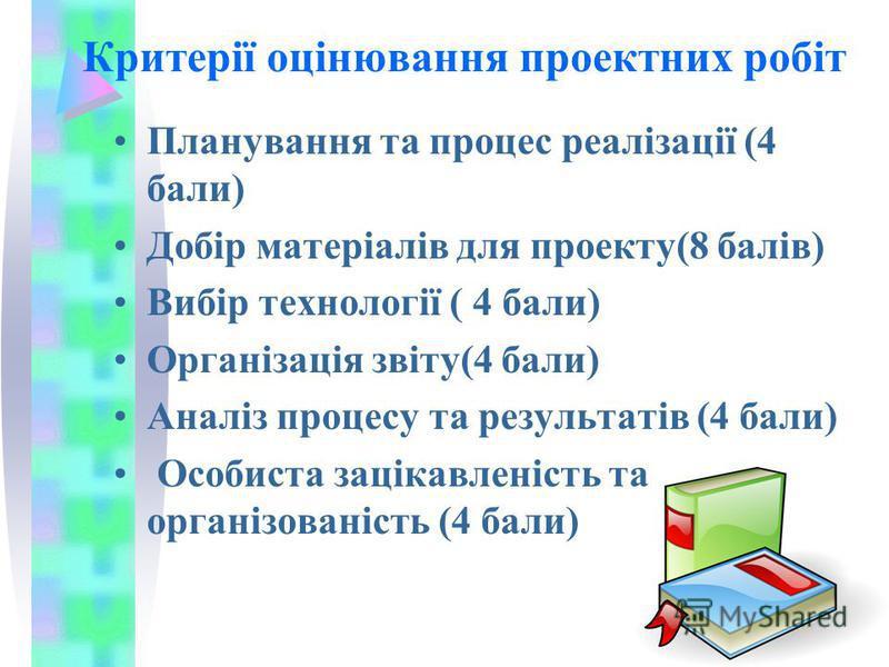 Критерії оцінювання проектних робіт Планування та процес реалізації (4 бали) Добір матеріалів для проекту(8 балів) Вибір технології ( 4 бали) Організація звіту(4 бали) Аналіз процесу та результатів (4 бали) Особиста зацікавленість та організованість