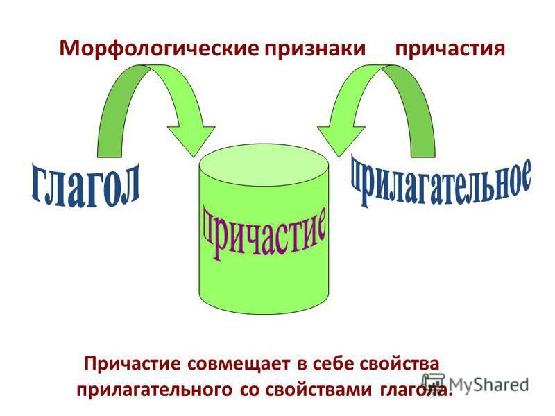 Морфологические признаки причастия Причастие совмещает в себе свойства прилагательного со свойствами глагола.