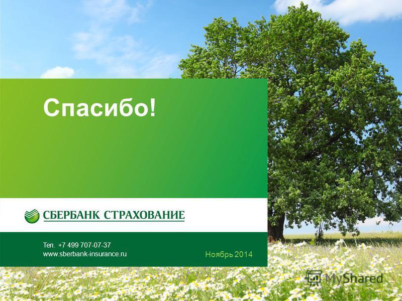 Тел. +7 499 707-07-37 www.sberbank-insurance.ru Октябрь 2014 Спасибо! 5 Ноябрь 2014