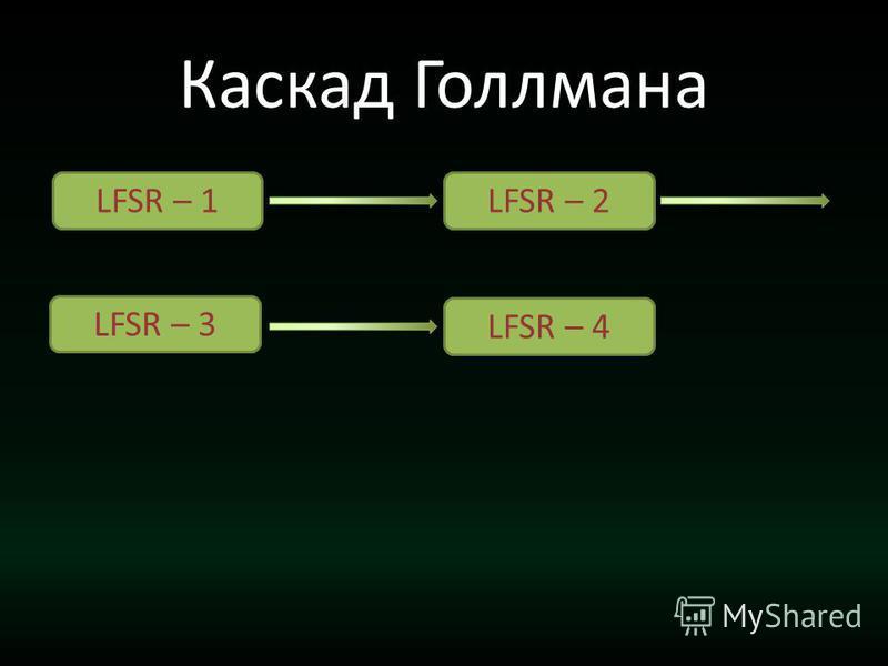 Каскад Голлмана LFSR – 1LFSR – 2 LFSR – 3 LFSR – 4