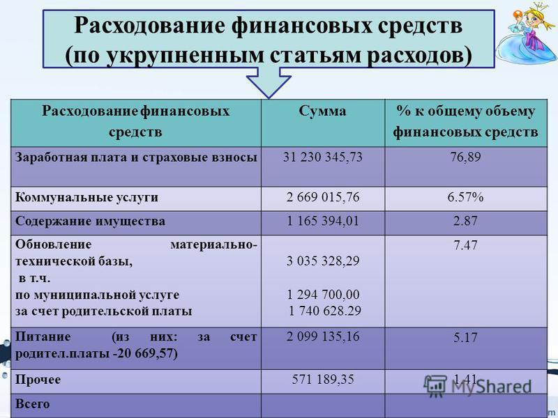 Расходование финансовых средств (по укрупненным статьям расходов)