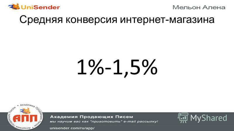 Средняя конверсия интернет-магазина 1%-1,5%