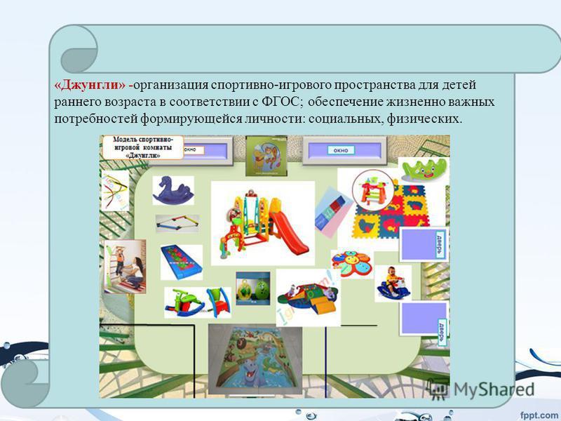 «Джунгли» -организация спортивно-игрового пространства для детей раннего возраста в соответствии с ФГОС; обеспечение жизненно важных потребностей формирующейся личности: социальных, физических.