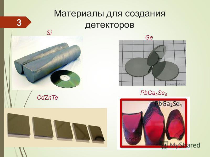 Материалы для создания детекторов PbGa 2 Se 4 CdZnTe Si GeGe 3
