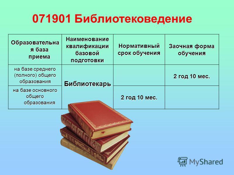 Образовательна я база приема Наименованиеквалификациибазовойподготовки Нормативный срок обучения Заочная форма обучения на базе среднего (полного) общего образования Библиотекарь 2 год 10 мес. на базе основного общего образования 2 год 10 мес. 071901