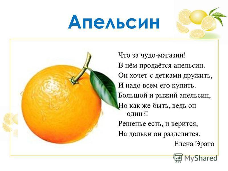 Апельсин Что за чудо-магазин! В нём продаётся апельсин. Он хочет с детками дружить, И надо всем его купить. Большой и рыжий апельсин, Но как же быть, ведь он один?! Решенье есть, и верится, На дольки он разделится. Елена Эрато