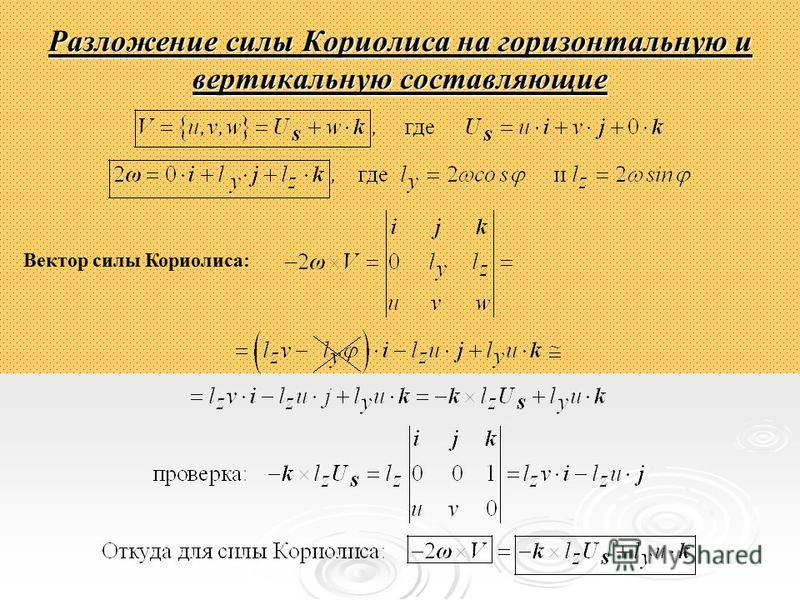 Разложение силы Кориолиса на горизонтальную и вертикальную составляющие Вектор силы Кориолиса: