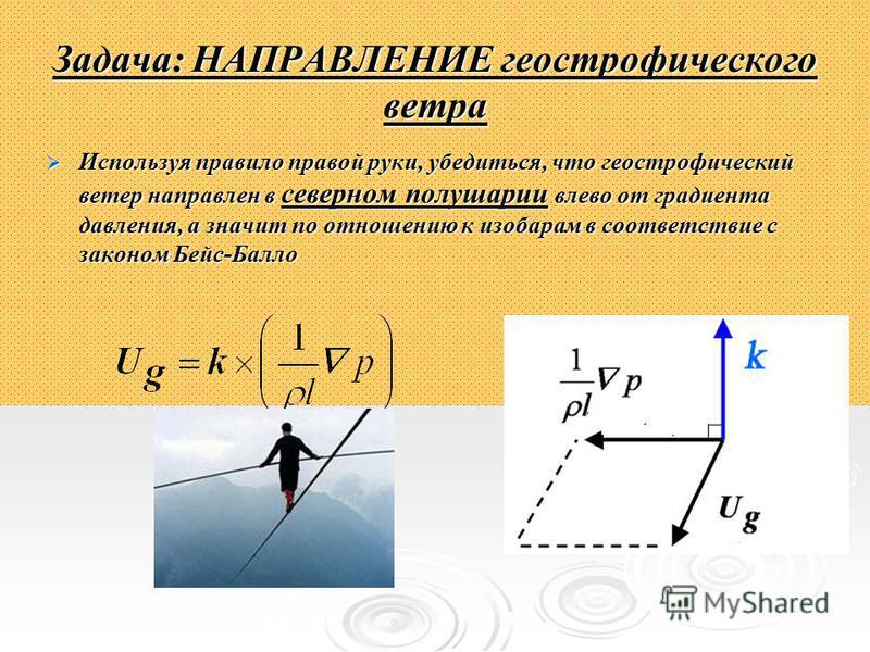 Задача: НАПРАВЛЕНИЕ геострофического ветра Используя правило правой руки, убедиться, что геострофический ветер направлен в северном полушарии влево от градиента давления, а значит по отношению к изобарам в соответствие с законом Бейс-Балло Используя
