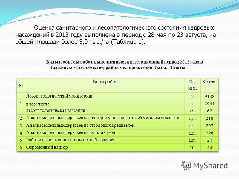 Виды и объёмы работ, выполненные за вегетационный период 2013 года в Тоджинском лесничестве, район месторождения Кызыл-Таштыг Оценка санитарного и лесопатологического состояния кедровых насаждений в 2013 году выполнена в период с 28 мая по 23 августа
