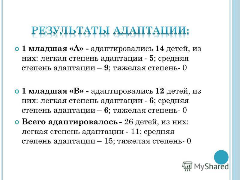 1 младшая «А» - адаптировались 14 детей, из них: легкая степень адаптации - 5 ; средняя степень адаптации – 9 ; тяжелая степень- 0 1 младшая «В» - адаптировались 12 детей, из них: легкая степень адаптации - 6 ; средняя степень адаптации – 6 ; тяжелая