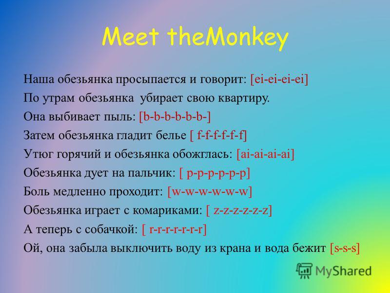 Meet theMonkey Наша обезьянка просыпается и говорит: [ei-ei-ei-ei] По утрам обезьянка убирает свою квартиру. Она выбивает пыль: [b-b-b-b-b-b-] Затем обезьянка гладит белье [ f-f-f-f-f-f] Утюг горячий и обезьянка обожглась: [ai-ai-ai-ai] Обезьянка дуе