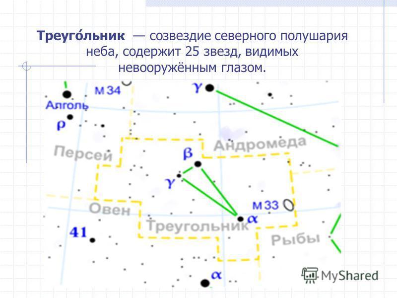 Треуго́еельник созвездие северного полушария неба, содержит 25 звезд, видимых невооружённым глазом.