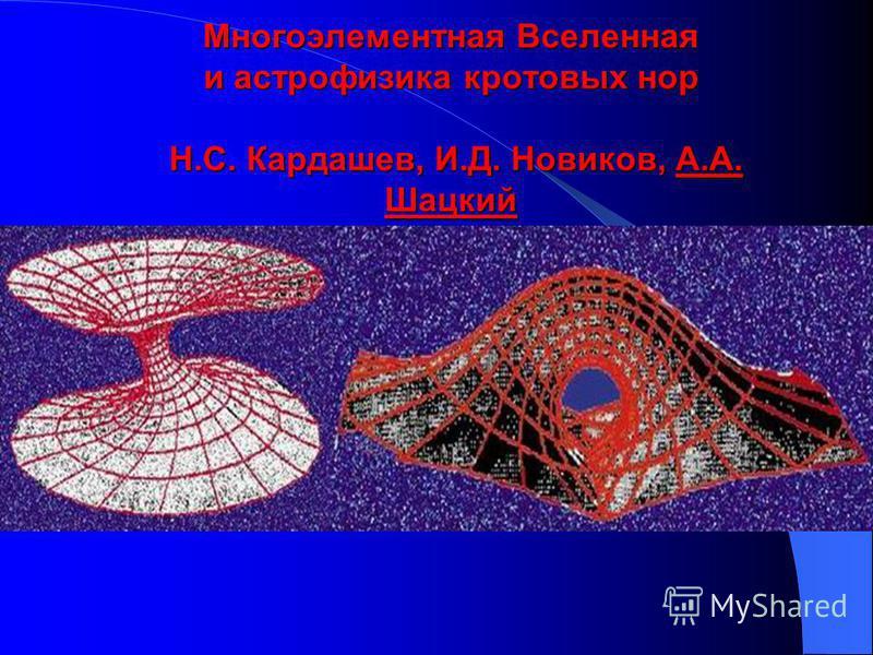 Многоэлементная Вселенная и астрофизика кротовых нор Н.С. Кардашев, И.Д. Новиков, А.А. Шацкий