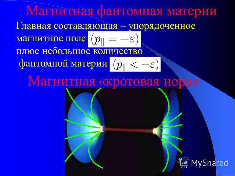 Магнитная фантомная материи Главная составляющая – упорядоченное магнитное поле плюс небольшое количество фантомной материи Магнитная «кротовая нора»: