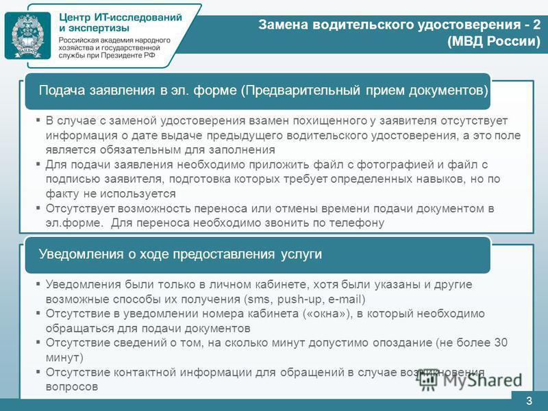 Замена водительского удостоверения - 2 (МВД России) В случае с заменой удостоверения взамен похищенного у заявителя отсутствует информация о дате выдаче предыдущего водительского удостоверения, а это поле является обязательным для заполнения Для пода