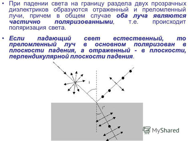 оба луча являются частично поляризованными При падении света на границу раздела двух прозрачных диэлектриков образуются отраженный и преломленный лучи, причем в общем случае оба луча являются частично поляризованными, т.е. происходит поляризация свет