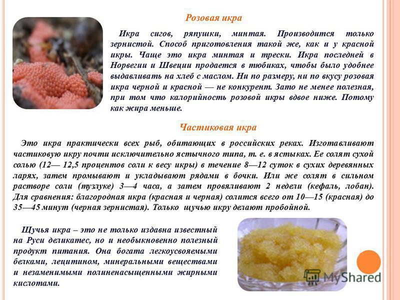 Розовая икра Икра сигов, ряпушки, минтая. Производится только зернистой. Способ приготовления такой же, как и у красной икры. Чаще это икра минтая и трески. Икра последней в Норвегии и Швеции продается в тюбиках, чтобы было удобнее выдавливать на хле