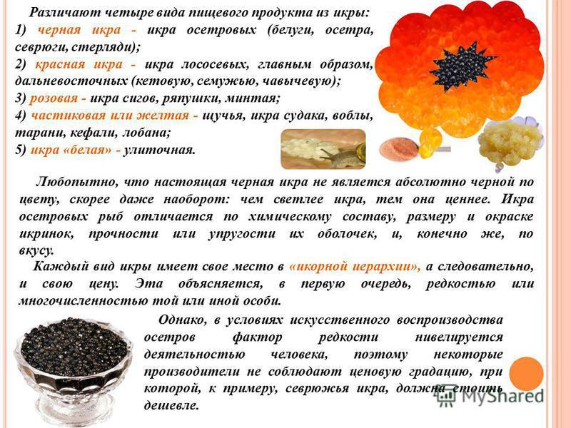 Различают четыре вида пищевого продукта из икры: 1) черная икра - икра осетровых (белуги, осетра, севрюги, стерляди); 2) красная икра - икра лососевых, главным образом, дальневосточных (кетовую, семужью, чавычевую); 3) розовая - икра сигов, ряпушки,