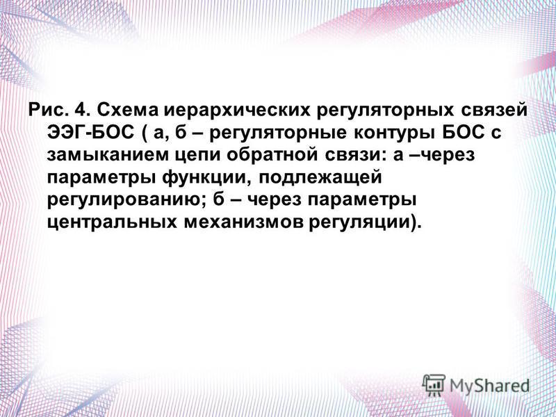 Рис. 4. Схема иерархических регуляторных связей ЭЭГ-БОС ( а, б – регуляторные контуры БОС с замыканием цепи обратной связи: а –через параметры функции, подлежащей регулированию; б – через параметры центральных механизмов регуляции).