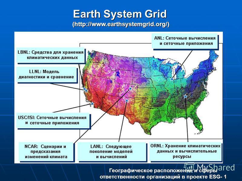 Earth System Grid (http://www.earthsystemgrid.org/) 1 Географическое расположение и сферы ответственности организаций в проекте ESG- 1