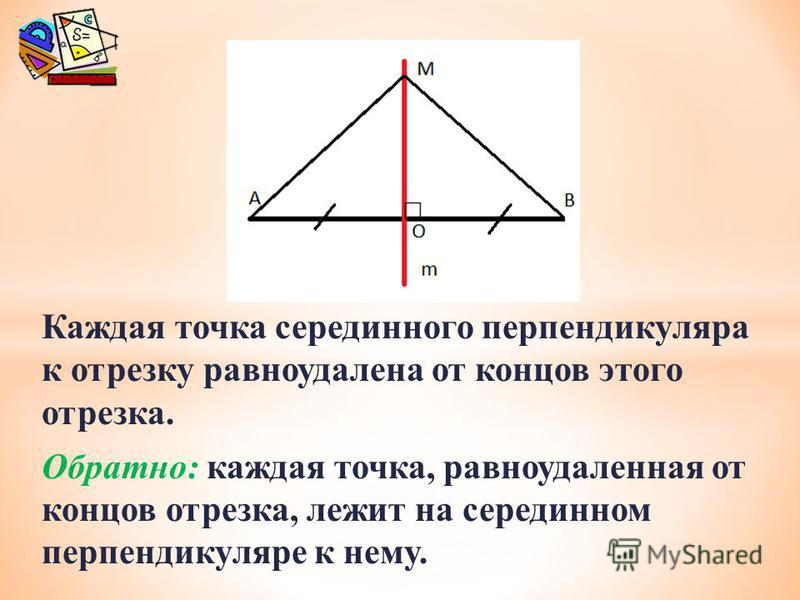Каждая точка серединного перпендикуляра к отрезку равноудалена от концов этого отрезка. Обратно: каждая точка, равноудаленная от концов отрезка, лежит на серединном перпендикуляре к нему.