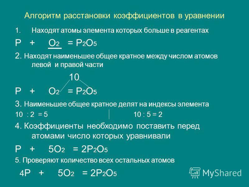 Алгоритм расстановки коэффициентов в уравнении 1. Находят атомы элемента которых больше в реагентах P + O 2 = P 2 O 5 2. Находят наименьшее общее кратное между числом атомов левой и правой части 10 P + O 2 = P 2 O 5 3. Наименьшее общее кратное делят