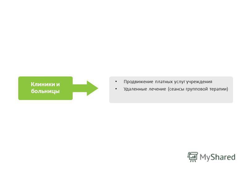 Клиники и больницы Продвижение платных услуг учреждения Удаленные лечение (сеансы групповой терапии)