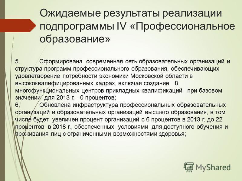 Ожидаемые результаты реализации подпрограммы IV «Профессиональное образование» 5. Сформирована современная сеть образовательных организаций и структура программ профессионального образования, обеспечивающих удовлетворение потребности экономики Москов