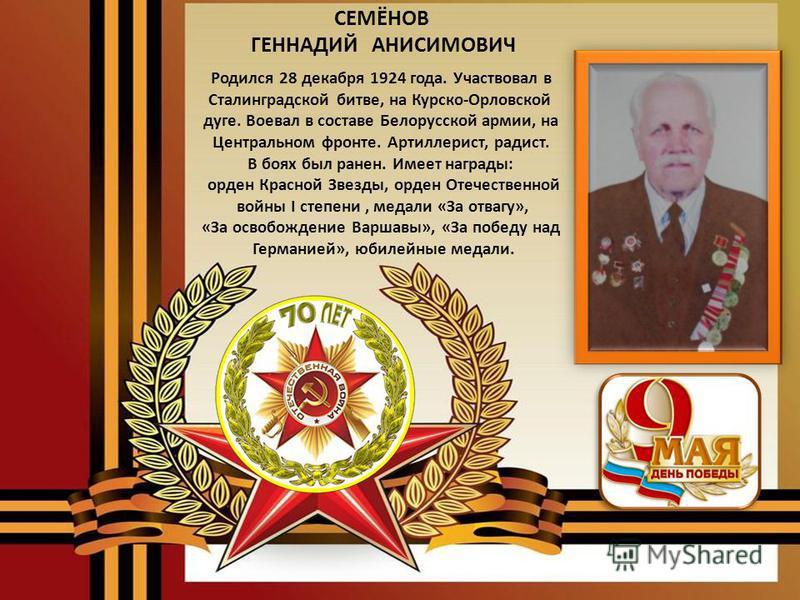 ПОПОВ АЛЕКСАНДР ФЁДОРОВИЧ Родился 22 сентября 1921 года. С августа 1942 года принимал участие в боевых действиях в горах Кавказа. Воевал на Южном фронте, в партизанских соединениях. Освобождал города Кубани, Крыма. Не раз был ранен в боях. Имеет нагр