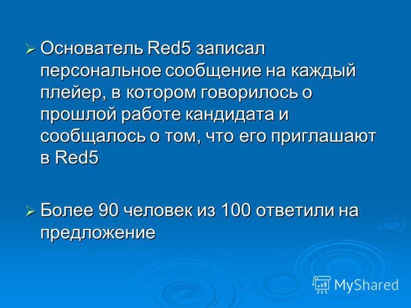 Основатель Red5 записал персональное сообщение на каждый плейер, в котором говорилось о прошлой работе кандидата и сообщалось о том, что его приглашают в Red5 Основатель Red5 записал персональное сообщение на каждый плейер, в котором говорилось о про