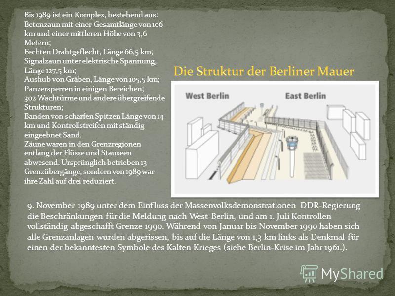 Bis 1989 ist ein Komplex, bestehend aus: Betonzaun mit einer Gesamtlänge von 106 km und einer mittleren Höhe von 3,6 Metern; Fechten Drahtgeflecht, Länge 66,5 km; Signalzaun unter elektrische Spannung, Länge 127,5 km; Aushub von Gräben, Länge von 105