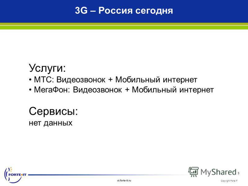Copyright Forte IT ct.forte-it.ru 3 3G – Россия сегодня Услуги: МТС: Видеозвонок + Мобильный интернет Мега Фон: Видеозвонок + Мобильный интернет Сервисы: нет данных