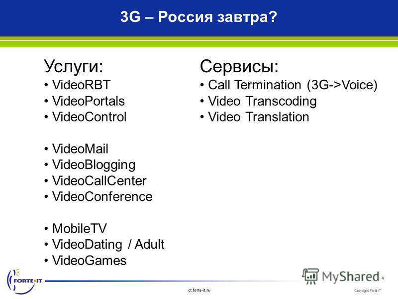 Copyright Forte IT ct.forte-it.ru 4 3G – Россия завтра? Услуги: VideoRBT VideoPortals VideoControl VideoMail VideoBlogging VideoCallCenter VideoConference MobileTV VideoDating / Adult VideoGames Сервисы: Call Termination (3G->Voice) Video Transcoding