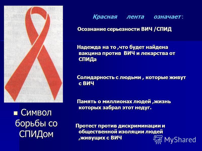 Символ борьбы со СПИДом Символ борьбы со СПИДом Осознание серьезности ВИЧ /СПИД Надежда на то,что будет найдена вакцина против ВИЧ и лекарства от СПИДа Надежда на то,что будет найдена вакцина против ВИЧ и лекарства от СПИДа Солидарность с людьми, кот
