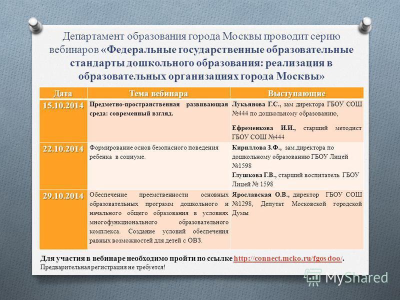 Департамент образования города Москвы проводит серию вебинаров «Федеральные государственные образовательные стандарты дошкольного образования: реализация в образовательных организациях города Москвы» Для участия в вебинаре необходимо пройти по ссылке