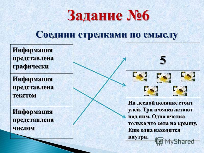Задание 6 Соедини стрелками по смыслу Информация представлена графически Информация представлена текстом Информация представлена числом 5 На лесной полянке стоит улей. Три пчелки летают над ним. Одна пчелка только что села на крышу. Еще одна находитс